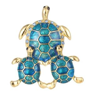 Image Is Loading Cute Turtle Animal Crystal Rhinestone Gold Plated Brooch