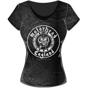 Rockoff-Trade-Women-039-s-England-Seal-Acid-Wash-T-shirt-Grey-Large-Motorhead