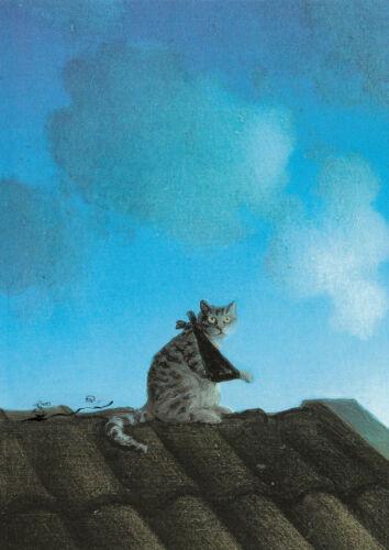 Michael Sowa Postkarte Katze mit Armbinde auf dem Dach