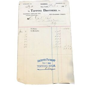 VINTAGE TOPPING BROTHERS - NYC - NEW YORK - 122 CHAMBERS ST INVOICE - 1906