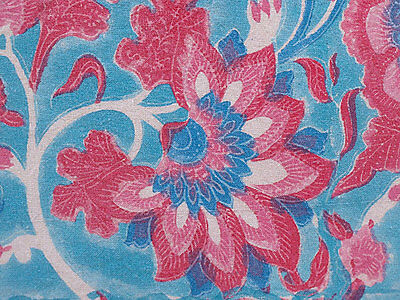Blue & Red Hand Block Print Kalamkari. Traditional India, Cotton Fabric. 5 Yards