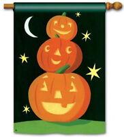 Halloween Jack O Lanterns 3 Stacked Smile High Pumpkins Large Banner Flag 28x40
