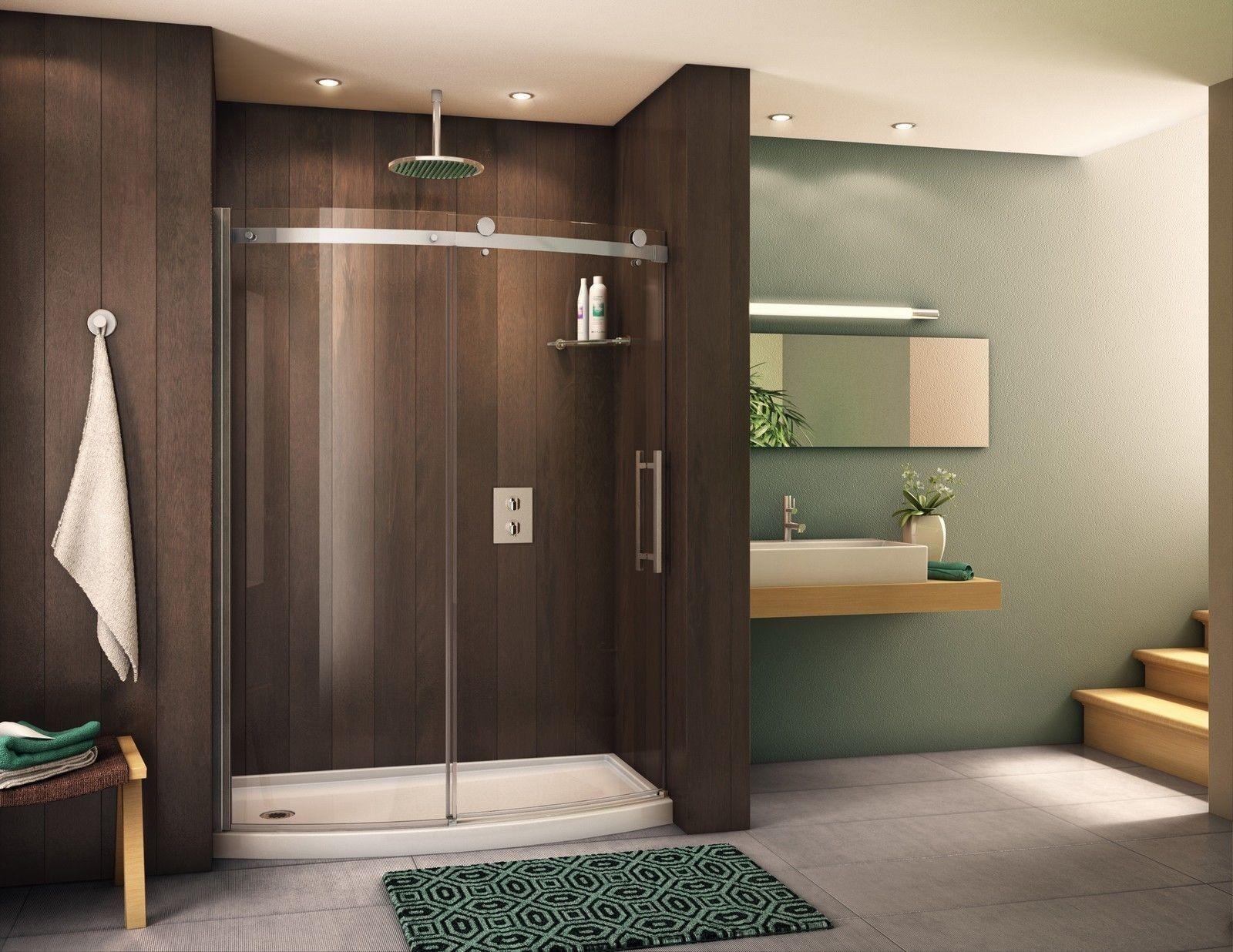 Fleurco 57 58 X 75 Novara Bowfront 5 16 Glass Curved Frameless Shower Door