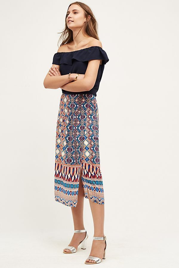 NEW Anthropologie Olympia Silk Midi Skirt by HD in Paris Size 12 (Orig.  158)