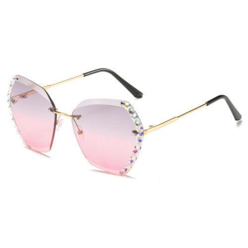 Oversized Square Sunglasses Women Fasihion Hand-made Rhinestone Shades Eyewear