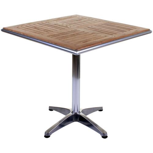 Bistro Table Aluminium Chrome & Wood Square Outdoor Garden Patio Cafe Furniture