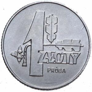 Polen-Muenze-1-Zloty-1958-Eichenlaub-Probe-Aluminium-Stempelglanz-UNC