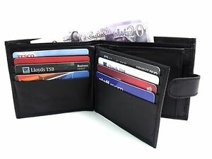 Mens-New-Luxury-Wallet-Black-Leather-Wallet-Credit-Card-Holder-Coin-Pouch-Purse