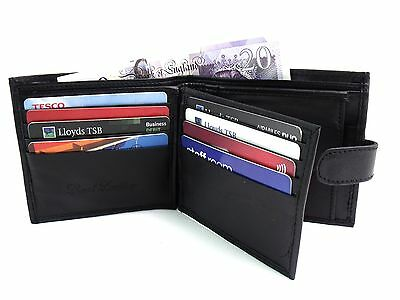 Mens New Luxury Wallet Black Leather Wallet Credit Card Holder Coin Pouch Purse