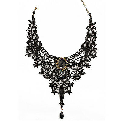 Black Lace& Beads Choker Victorian Steampunk Style Gothic Collar Necklace Gift