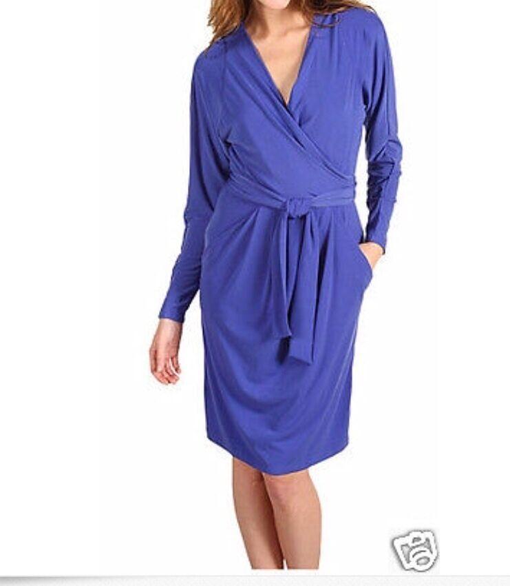 Tahari Size 10 Betsey Matte Jersey bluee Periwinkle Wrap Dress Msrp