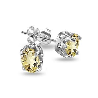 3 Ct Simulated Citrine Oval Stud Earrings .925 Sterling Silver