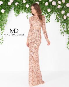 74babf20cd9 MAC DUGGAL 4316D Couture Runway Rose Gold Beaded Long Sleeve Mermaid ...