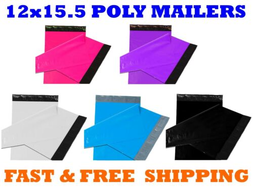 """12x15.5 Color POLY MAILERS Shipping Envelopes Self Sealing Mailing Bags 12/""""x15/"""""""