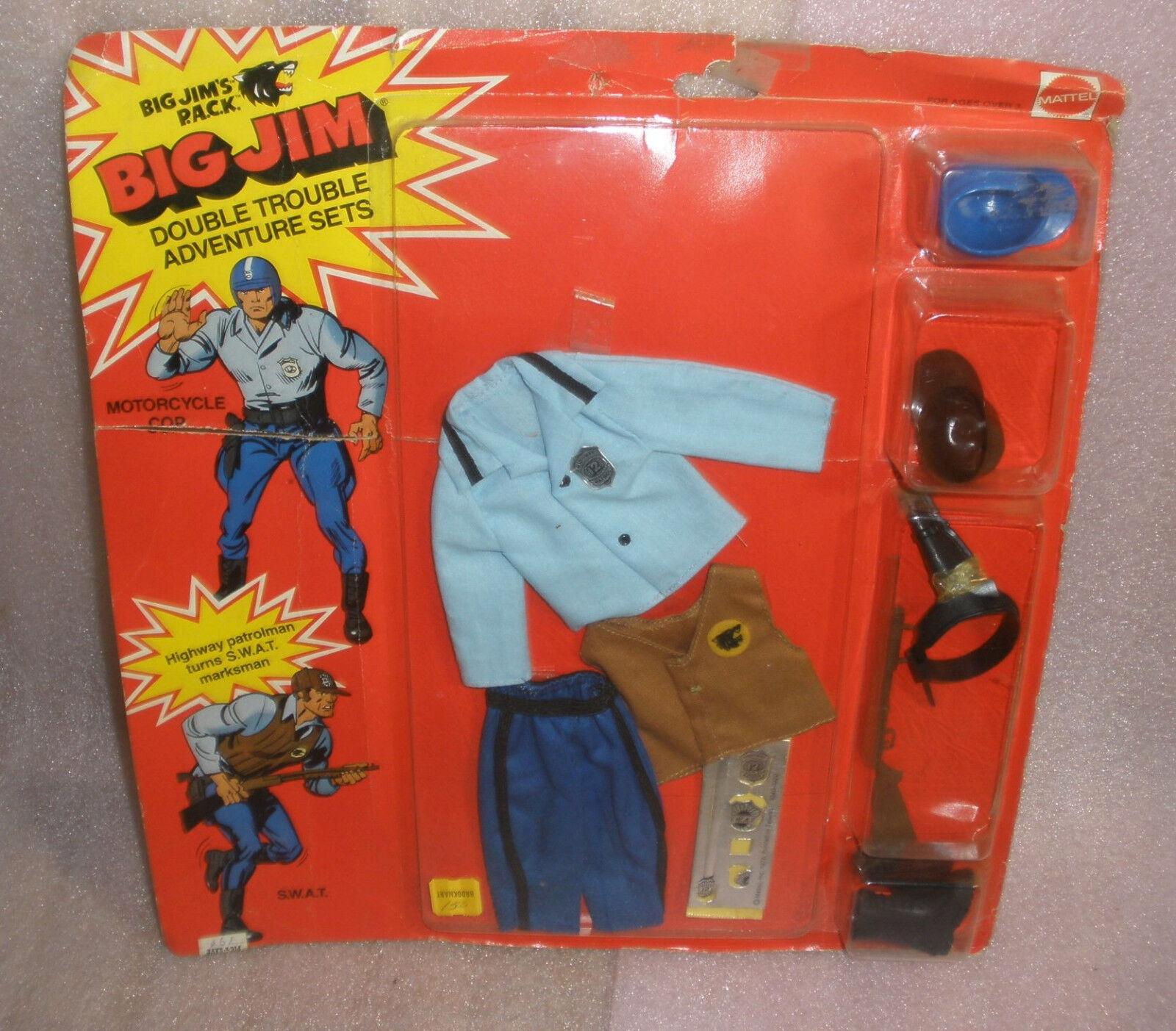 Big Jim Double Trouble Adventure Set Motorcycle cop Swat Mint on Card RARE