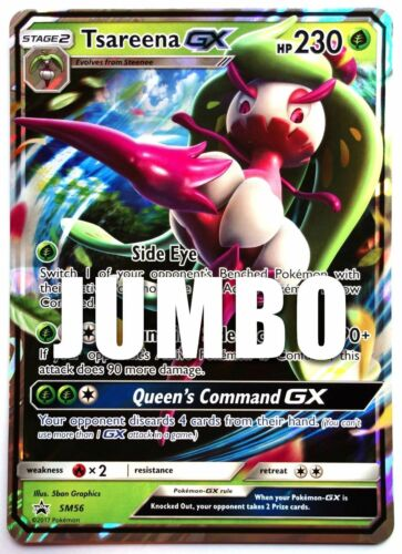 Jumbo Taille Tsareena GX Noir Étoile Promo SM56 NM Pokemon