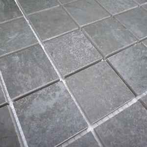 Peaks Anthracite Grey Textured Porcelain Mosaic Tile Sheets Bathroom ...