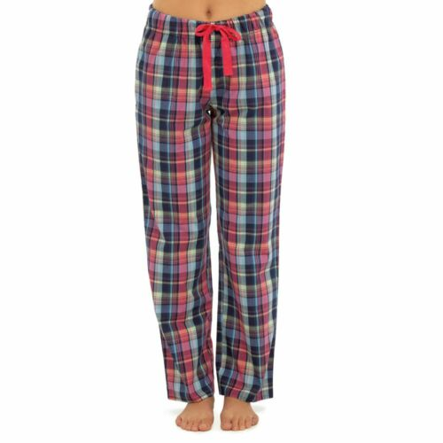 Ladies Soft Cotton Blend Colourful Checked Design Loungepants In Sizes 10-18