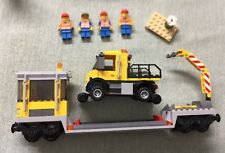 Lego Train City Red Cargo Repair Flatbed + Figure 60052/60098/7939/3677 READ