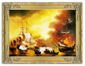 Painting-Port-Handmade-Oil-Painting-Picture-Oil-Ships-Frame-Pictures-G00052