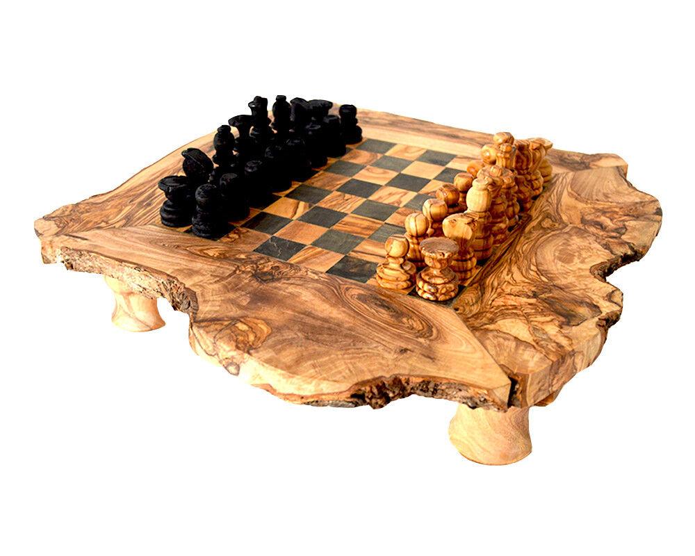 Chess set  on olive bois  board with legs original gift idea  100% neuf avec qualité d'origine