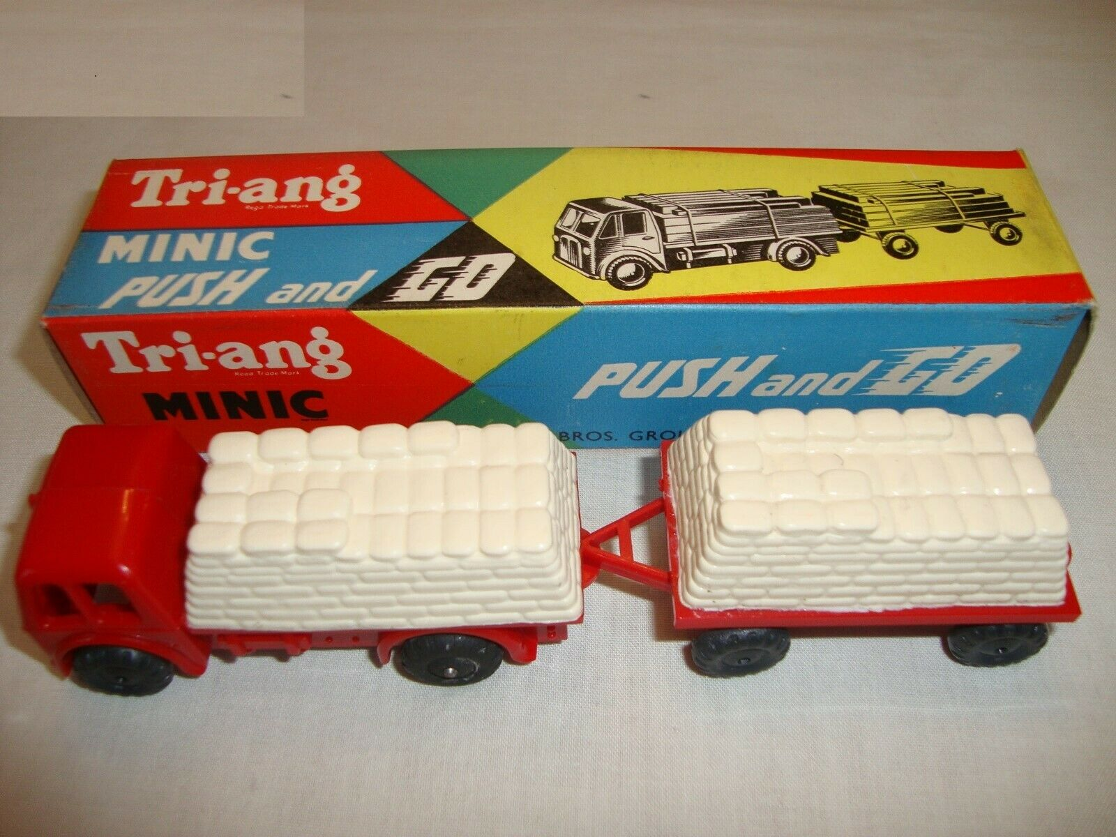 Triang minic push & go ciment camion & remorque-vn mint in original box-rare