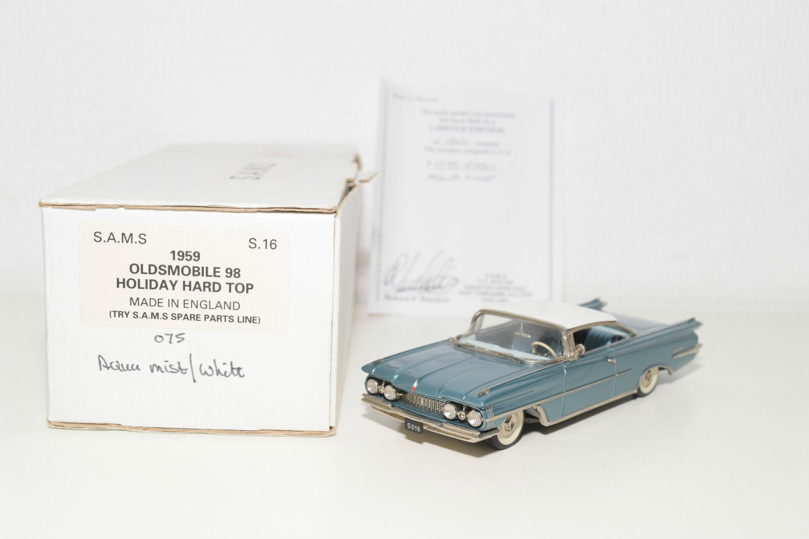 . S.A.M.S SAMS S16 OLDSMOBILE 98 HOLIDAY HARD TOP MET. Blau MINT BOXED RARE
