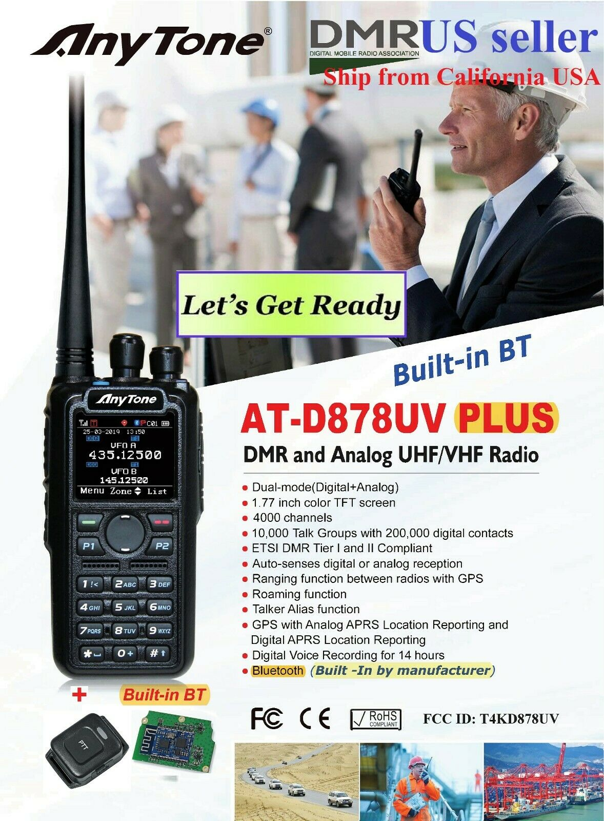 AnyTone AT-D878UV Plus GPS Bluetooth 3100 mAh battery and more    US seller. Available Now for 238.99