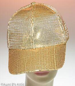 7dced892 Image is loading Baseball-Cap-Gold-Sequin-Hat-Fancy-Disco-Novelty-