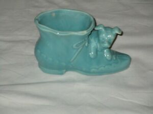 Vintage-Shawnee-USA-Pottery-Planter-with-a-Dog-and-Boot