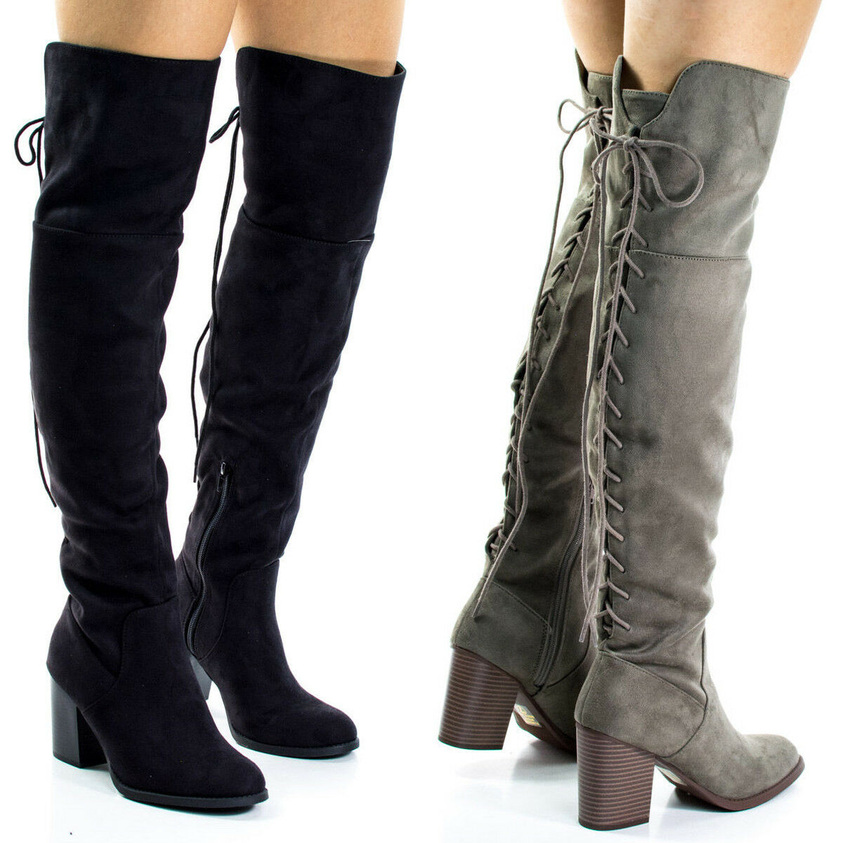 NEW femmes Back Taupe Lace Up Chunky Over The Knee High Heel bottes Slouchy