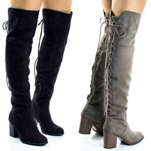 f5e7fd836d1e ASPEN Women Back Taupe Lace Up Chunky Over The Knee High Heel Boots ...