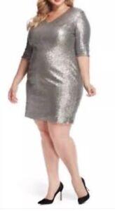 Details about Rebel Wilson X Angels Empire Waist Silver Sequin Dress Plus  Size 20W Sheath NEW