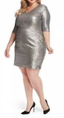 Rebel Wilson X Angels Empire Waist Silver Sequin Dress Plus Size 20W Sheath  NEW | eBay