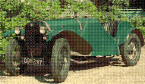Cross Stitch Kit 12x7 Old Classic Green Car Austin 7 Special 16 Count Anchor