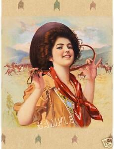VINTAGE-1909-ANTIQUE-COWGIRL-HORSE-CANVAS-WESTERN-ART