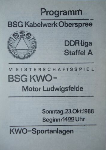 Programm 1988//89 BSG KWO Berlin Motor Ludwigsfelde