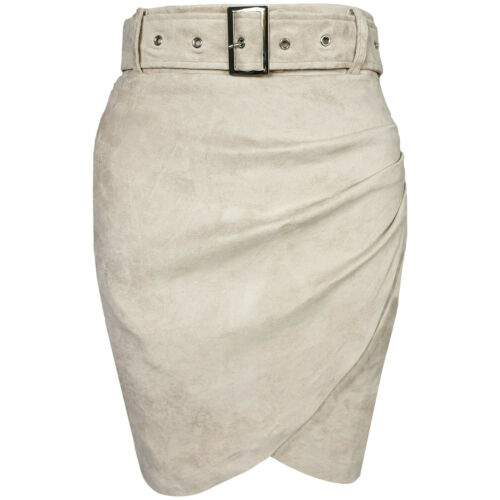Faux Suede Belt Ruched High Waisted Bodycon Wrap Stretch Party Short Mini Skirt