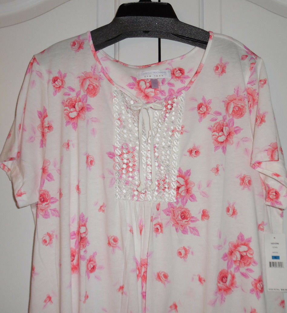 Carole Hochman Cotton Blend Short Sleeve Pink Flower Long Nightgown XL NWT