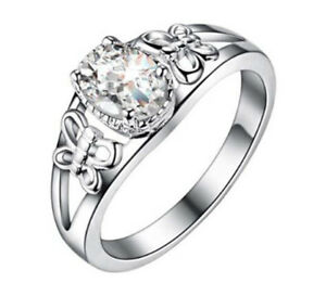 image is loading new butterfly women white gemstone crystal silver wedding - Silver Wedding Ring