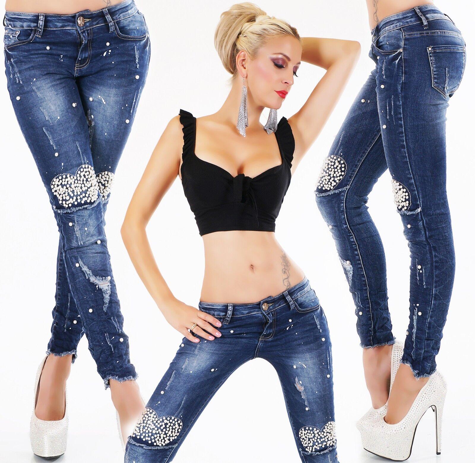 Original Designer Stretch Jeans damen Trousers Skinny Jeans Pearls abwetzungen XS-XL
