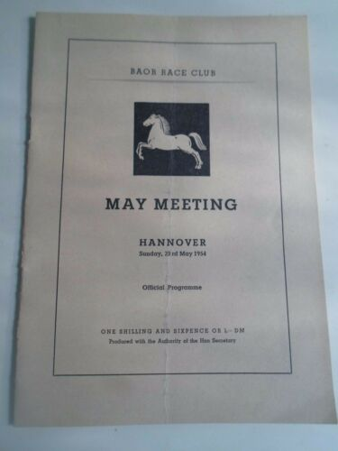 RARE Old BOAR Race Club Horse Racing Hannover 1954 Official Programme+Adverts