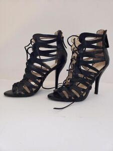 Nine-West-Kenie-Black-shoes-Lace-up-high-heel-sandals-Open-toe