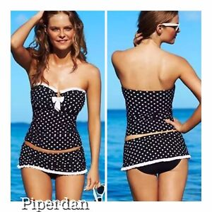 1bef5df838 Details about NWT $188 Gottex Profile Tea at 3 Black Polka Dot 8 Tankini &  12 Skirt Bottom