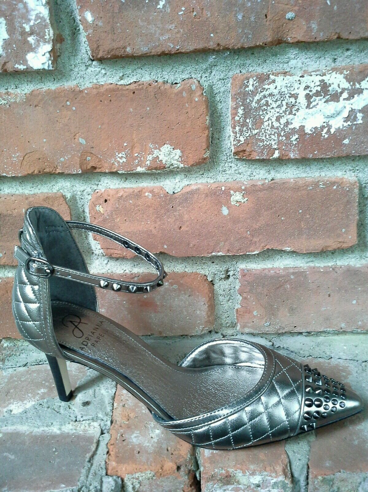 Adrianna Papell Hope Quilted Pointed-Toe d'Orsay Pump Lush Gunmetal Sz 9  139
