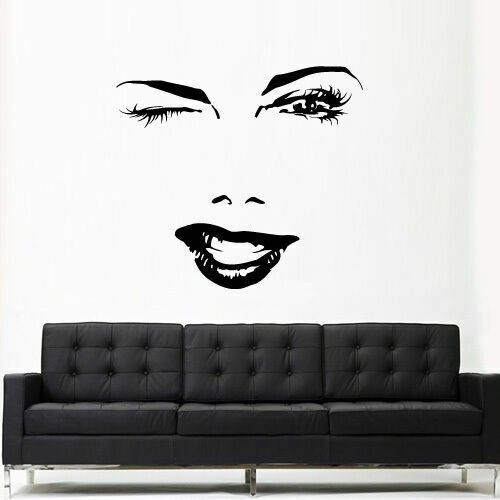 Z3152 Wall Vinyl Sticker Bedroom Decal Wall Decal Girl Face Lips Eyes Fashion