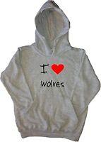 I Love Heart Wolves Kids Hoodie Sweatshirt