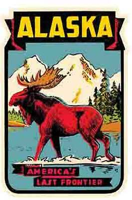 Alaska  Moose Last Frontier  Vintage-Looking  Travel Decal/Luggage Label/Sticker