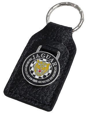 Jaguar leaper leather and enamel car key ring fob