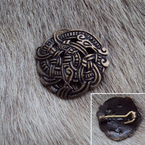 Ideal For LARP Pin Brooch Antique Finish Hand Crafted Brass Viking Greiftier